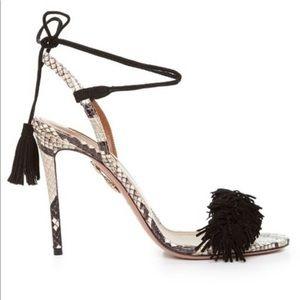 Aquazzura Wild Thing snakeskin hell sandals